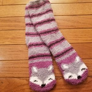Foxy Grey and Purple Plush Socks